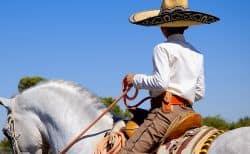 Mexikanischer Junge auf einem Pferd