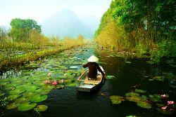 Kleines Boot auf dem Fluss