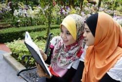 Zwei  junge Mädchen lesen ein Buch