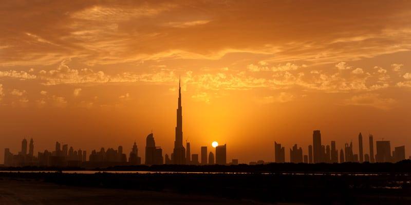 Burj Khalifa  im  Sonnenuntergang