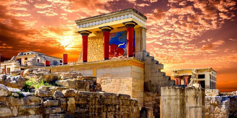 Palast von Knossos im Sonnenuntergang